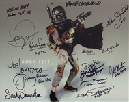 "Boba Fett Extensively Signed 11"" x 14"" Color Photo with Fourteen (14) Key Autographs Incl. Actors, Designers, Stuntmen, etc (Beckett/BAS Guaranteed)(Steve Grad Collection)"