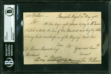 John Hancock Rare Signed Promissory Note (Beckett/BAS Encapsulated)