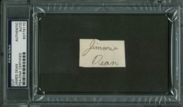 "James Dean Signed 1.25"" x 1.75"" ""Jimmie Dean"" Cut (PSA/DNA Encapsulated)"