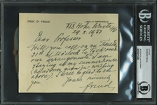 Sigmund Freud Rare Handwritten & Signed 1933 Note (BAS/Beckett Encapsulated)