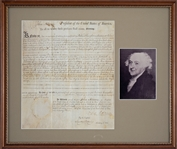 John Adams Rare Signed & Framed Presidential Document (PSA/DNA)