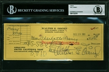 Walt Disney Vintage Signed Bank Check with Choice Signature (Beckett/BAS Encapsulated)