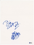 "AC/DC: Angus Young Signed 9"" x 12"" Cardstock Sheet with Hand Drawn Sketch! (John Brennan Collection)(Beckett/BAS)"