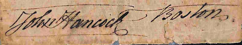 "John Hancock Signed 1"" x 5"" Document Clipping w/ ""Boston"" Inscription (Beckett/BAS)"