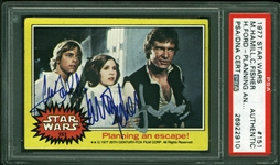 Star Wars: Harrison Ford, Carrie Fisher & Mark Hamill Signed 1977 Topps Star Wars Trading Card #151 (PSA/DNA Encapsulated)