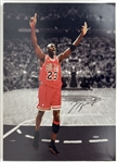 "Michael Jordan Signed 18"" x 22"" Color ""6 Rings"" Canvas Print (Upper Deck)"