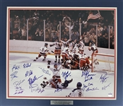 "Miracle On Ice 1980 US Mens Hockey Team Signed 16"" x 20"" Color Photo w/ 20+ Sigs Including Herb Brooks! (Steiner Sports)"