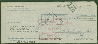 Judy Garland Signed 1963 Personal Bank Check (Beckett/BAS Guaranteed)