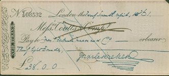 Charles Dickens Signed & Handwritten 1861 Bank Check (Beckett/BAS Guaranteed)