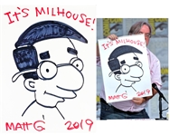 "Matt Groening Rare Signed & Hand Drawn 18"" x 24"" ""Milhouse"" Artwork with Photo Proof! (RARE SDCC Giveaway Piece)(Beckett/BAS Guaranteed)"