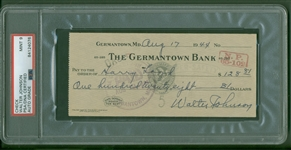 Walter Johnson Signed Handwritten 1944 Bank Check (PSA/DNA Mint 9)