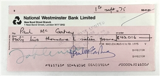 The Beatles: Scarce Dual Signed MacLen Music Royalties Check Payable To John Lennon, Signed by Paul McCartney & John Lennon! (PSA/DNA)