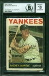 Mickey Mantle Signed 1964 Topps #50 Trading Card :: Beckett/BAS Graded GEM MINT 10 Autograph!