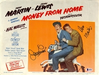 "Dean Martin & Jerry Lewis Signed Vintage 11"" x 14"" Lobby Card for ""Money from Home"" (Beckett/BAS LOA)"