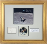 Apollo 11 Crew Signature Set in Custom Framed Display (Beckett/BAS Guaranteed)