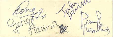 "The Beatles Vintage Group Signed 2.25"" x 5"" Album Page w/ All Four Members & RARE Roy Orbison!(BAS/Beckett)"