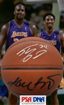 Kobe Bryant & Shaquille ONeal Dual Signed Basketball (PSA/DNA)