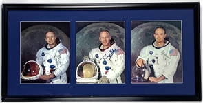 "Apollo 11 Crew Signed 8"" x 10"" Display w/ Armstrong, Collins & Aldrin! (Beckett/BAS Guaranteed)"