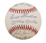 1953 New York Yankees Team Signed OAL Baseball w/ Mantle, Martin & Others (JSA)