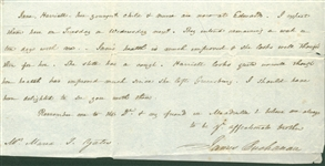 President James Buchanan Signed & Handwritten Letter to His Sister! (Beckett/BAS)