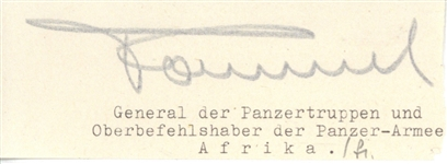 "Erwin Rommel Signed 1.5"" x 4"" Document Clipping (JSA)"