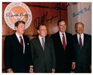 "The Four Presidents Signed 8"" x 10"" Color Photograph w/ Presidents Ford, Nixon, Reagan and Bush Sr. (PSA/DNA)"