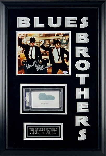 Blues Brothers: John Belushi Signed Sheet & Dan Aykroyd Signed Photo in Custom Framed Display (PSA/DNA)