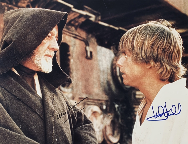 A New Hope: Sir Alec Guinness & Mark Hamill ULTRA RARE Dual Signed 11 x 14 Postcard Photo (Beckett/BAS Guaranteed)(Steve Grad Collection)