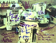 "R2-D2: Crew & Creators Multi-Signed 8"" x 10"" Color Photo with Impressive 15 Signatures (Beckett/BAS Guaranteed)(Steve Grad Collection)"