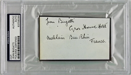 ULTRA-RARE Jean Bugatti Vintage Signed Album Page - The First to Ever Surface! (PSA/DNA Encapsulated)