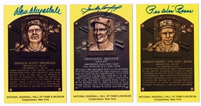 Dodgers HOFers Signed HOF Plaque Postcards with Koufax, Reese & Drysdale (Beckett/BAS Guaranteed)