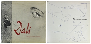 Salvador Dali Signed Book with Amazing Large Hand Drawn Sketch (Beckett/BAS)