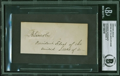 "Abraham Lincoln Signed Cut with ""President Elect of the United States"" Notation - BAS Autograph Graded MINT 9! (Beckett/BAS Encapsulated)"