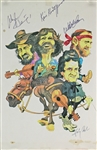 "The Highwaymen Unique Signed 11"" x 17"" Caricature Sketch with Johnny Cash, Kris Kristofferson, Waylon Jennings & Willie Nelson (Beckett/BAS LOA)"