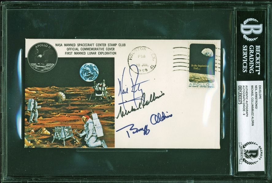 Apollo 11 Ultra Rare Crew Signed Type 1 Insurance Cover - BAS Graded MINT 9 (Beckett/BAS Encapsulated)