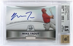 Mike Trout 2010 Bowman Platinum Prospects Autographs Refractor #MT - BGS Graded NM-MT+ 8.5 with 10 Autograph!