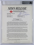 Warren Buffett Signed & Inscribed Press Release For Berkshire Hathaway Aquisition of Dairy Queen! (Beckett/BAS Encapsulated)