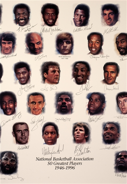 NBA 50 Greatest Players Signed Limited-Edition Lithograph - ULTRA-RARE Aritist Proof /30! (PSA/DNA & David Stern/NBA)