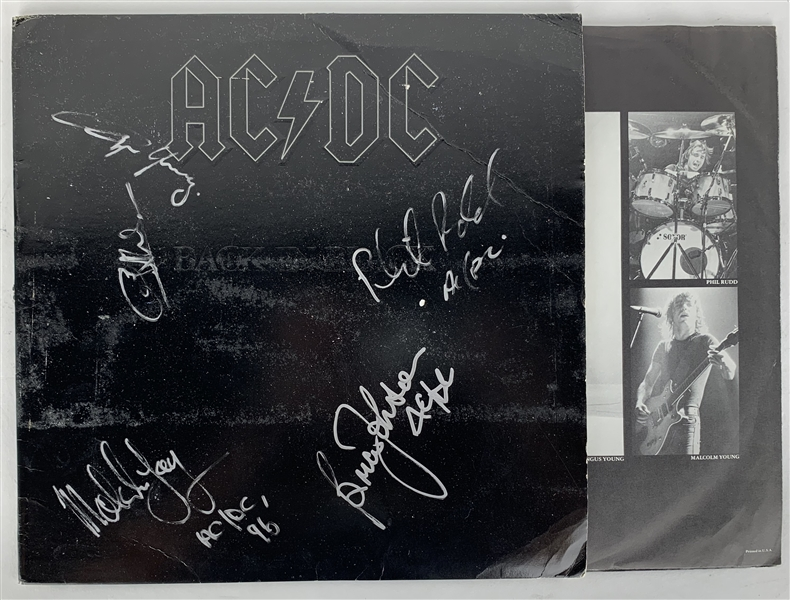 AC/DC Ultra-Rare Group Signed Back In Black Album w/ All Five Members! (JSA)