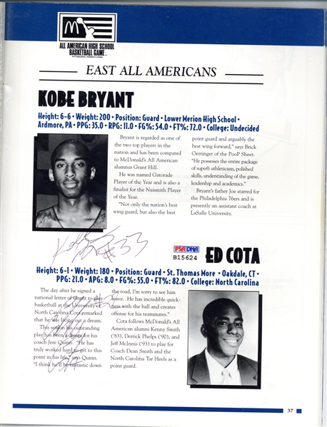Kobe Bryant ULTRA-RARE Signed 1996 Pre-Rookie McDonald's All-American Game Program (PSA/DNA)