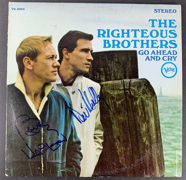 The Righteous Brothers Dual Signed Go Ahead and Cry Album (JSA)