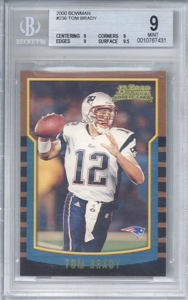 Tom Brady Quintessential Rookie Card: 2000 Bowman #236 Tom Brady - Beckett/BGS MINT 9!