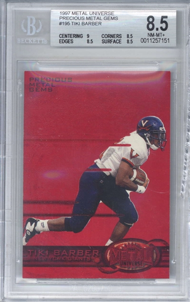 Tiki Barber 1997 Metal Universe Precious Metal Gem #195 Limited Edition /150 Rookie Card (Beckett/BGS 8.5)