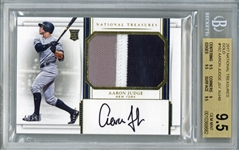 Aaron Judge Signed 2017 National Treasures Gold /49 #162 Game Used Rookie Patch Card - BGS 9.5, 10!