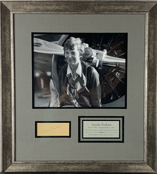 Amelia Earhart Impressive Signed 1.5 x 3.5 Cut Framed Display (PSA/DNA)