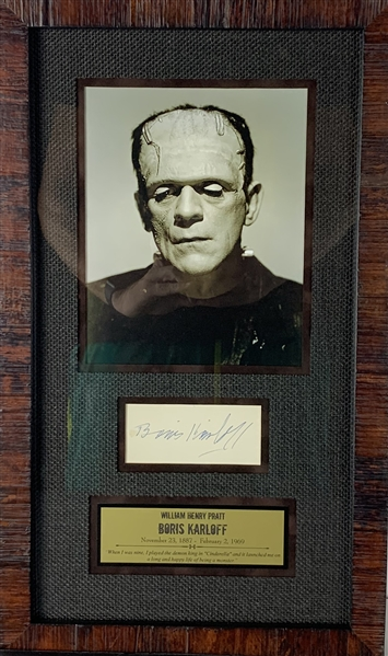 Boris Karloff Vintage Signed 4.25 x 2  Cut Framed Display (JSA)