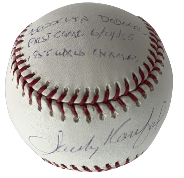 Sandy Koufax Rare Signed LE /55 OML Baseball w/ Brooklyn Dodger First Game 6/24/55, 1955 World Champs Inscription! (Beckett/BAS Guaranteed)