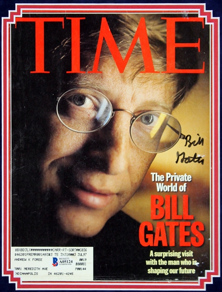 Bill Gates Signed January 1997 TIME Magazine Cover in Custom Framed Display (Beckett/BAS)