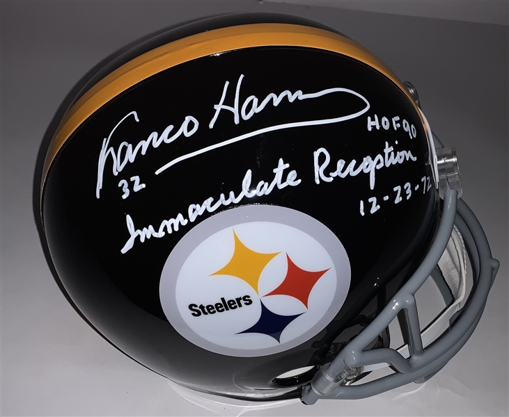 Franco Harris Signed & HOF 90 - Immaculate Reception Inscribed Steelers Replica Helmet (Beckett/BAS Guaranteed)