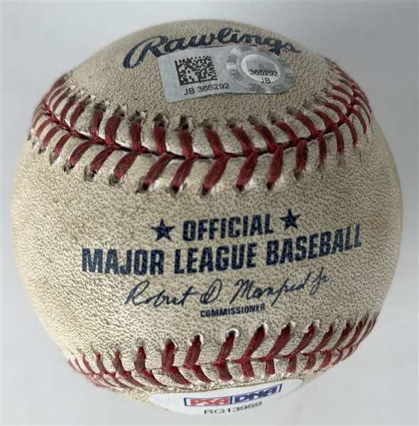 Cody Bellinger Signed & Game Used 2017 OML Baseball During ROY Campaign - Pitched & Hit Foul by Bellinger! (MLB & PSA/DNA)